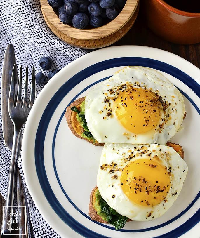 overhead Photo of Sweet potato toasts with eggs