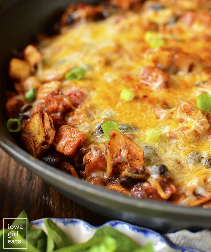 """Black Bean and Sweet Potato Chicken Enchilada Skillet is a healthy, 1 skillet, gluten-free dinner recipe that my entire family (including my 4 year old!) described as """"really, REALLY good!"""" 