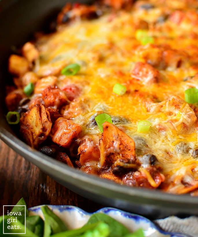 hot black bean and sweet potato chicken enchilada skillet