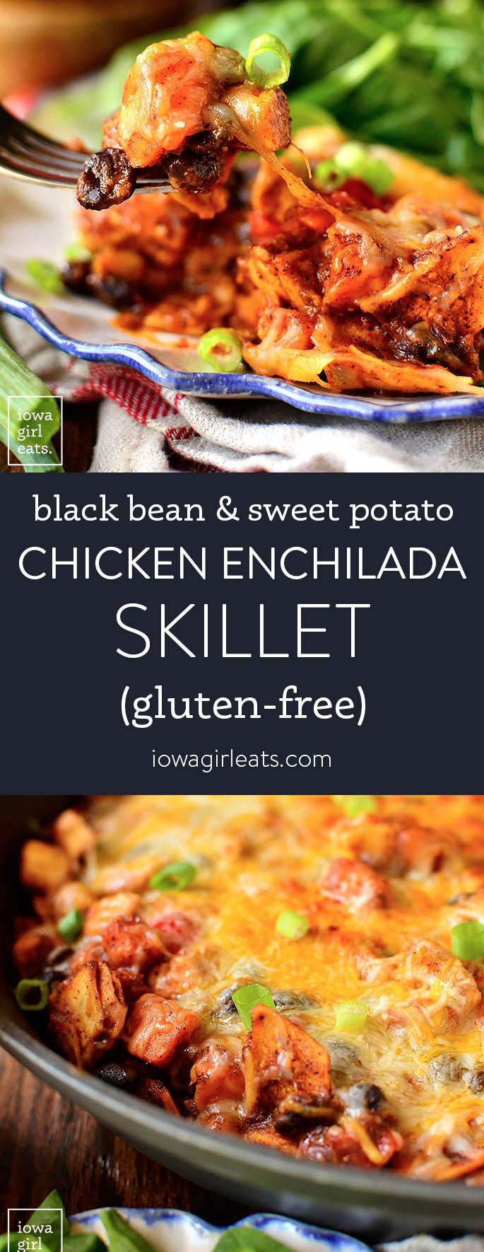 Photo collage of chicken enchilada skillet