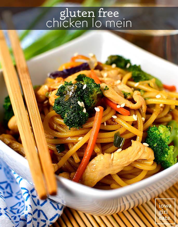 gluten free chicken lo mein in a bowl with chopsticks