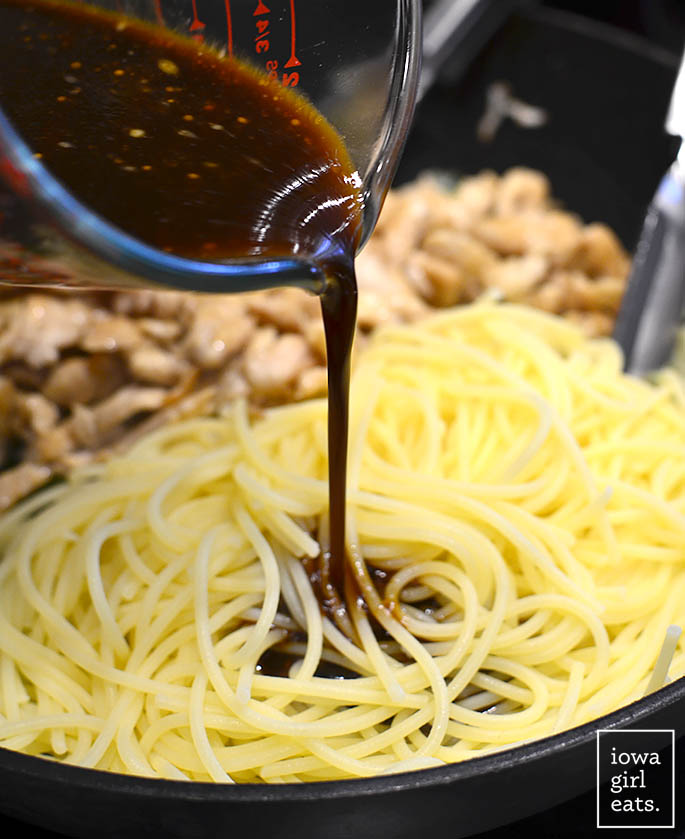 No need to order take out when you can make Gluten-Free Chicken Lo Mein at home! These saucy, slurpy noodles really satisfy.   iowagirleats.com