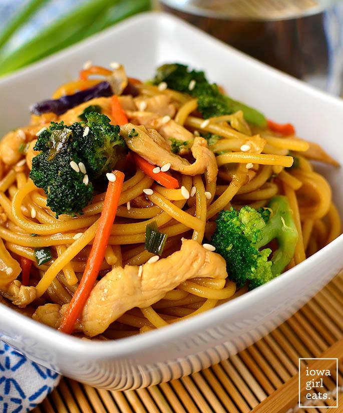 gluten free chicken lo mein in a bowl