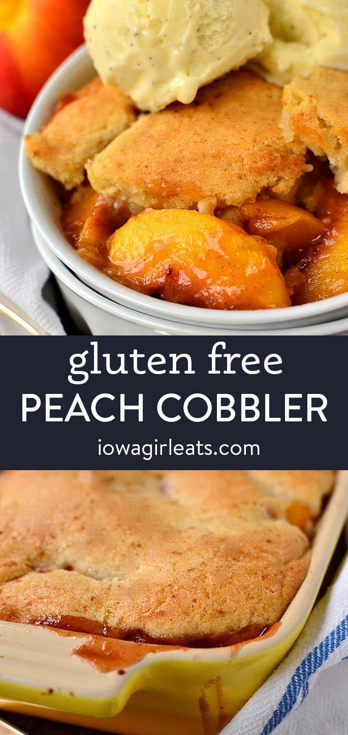 photo collage of gluten free peach cobbler
