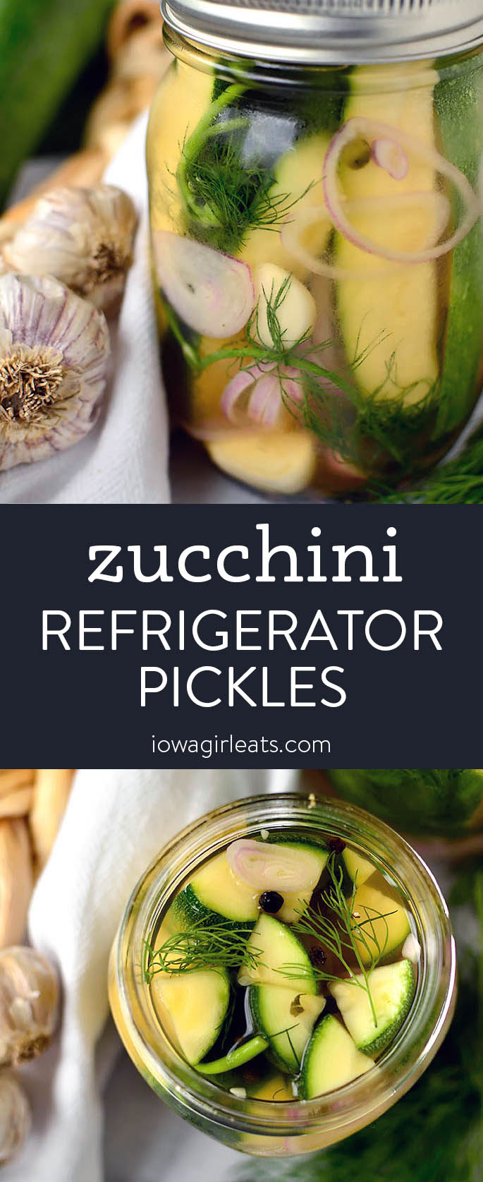 Photo collage of zucchini pickles