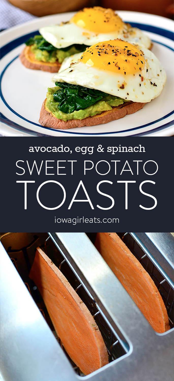 Photo collage of sweet potato toasts