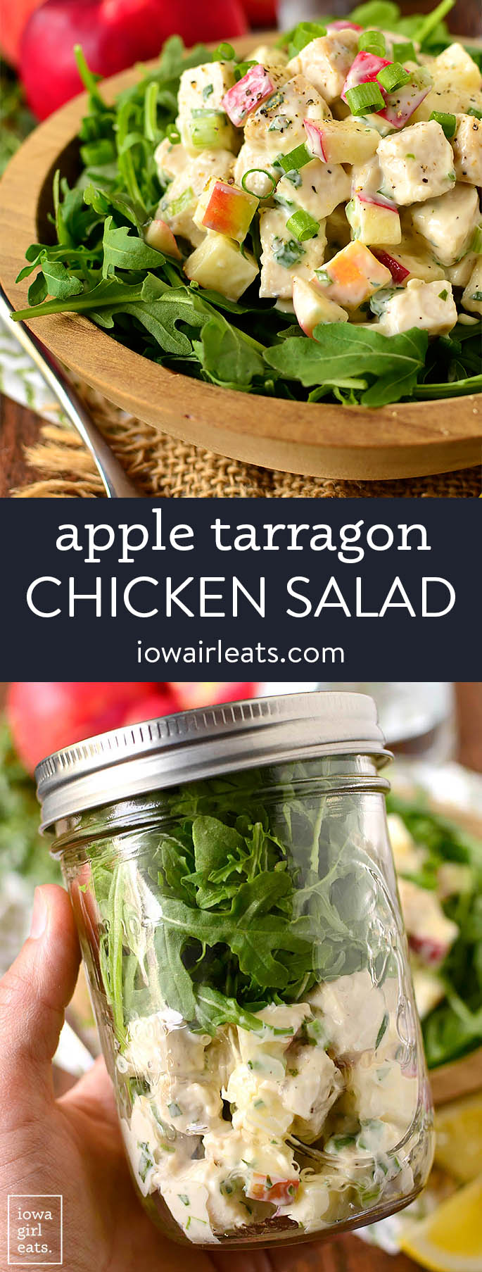 photo collage of apple tarragon chicken salad