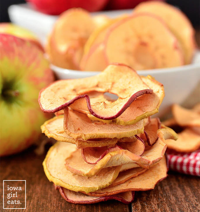 Baked Apple Chips are an easy, healthy fall snack recipe! | iowagirleats.com