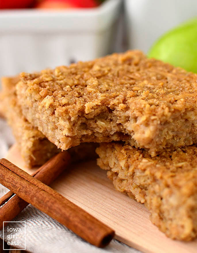 Close up of apple cinnamon bar with bite taken out