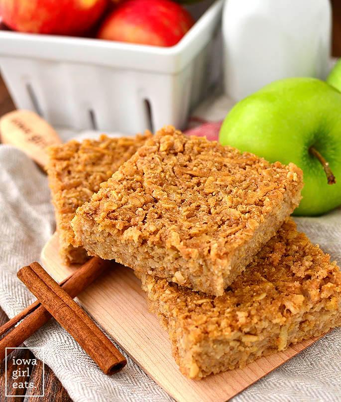 Tray of apple oatmeal bars