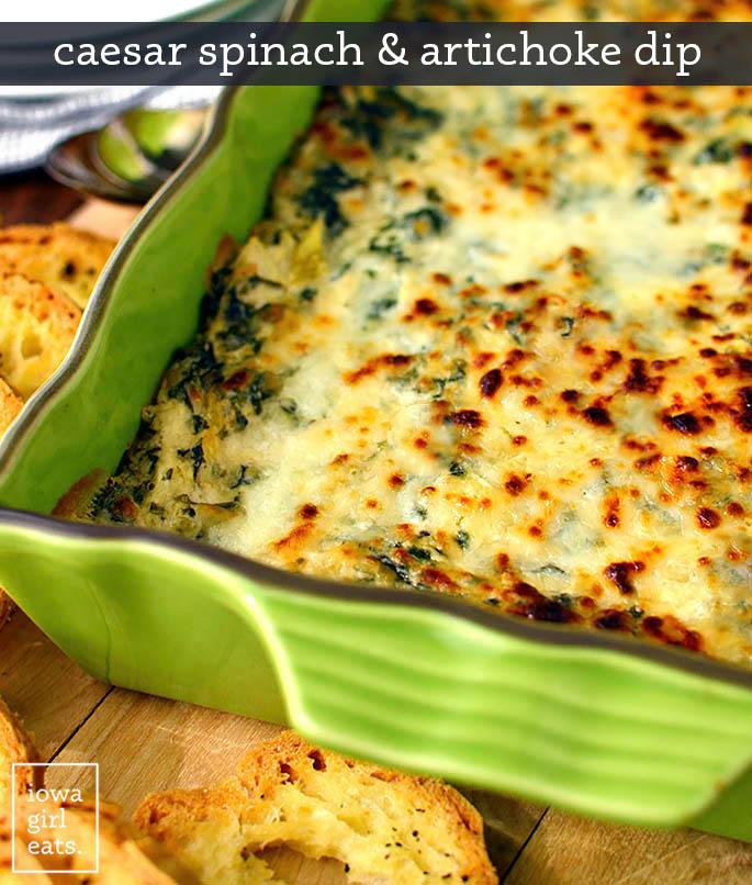 baking dish of caesar spinach and artichoke dip