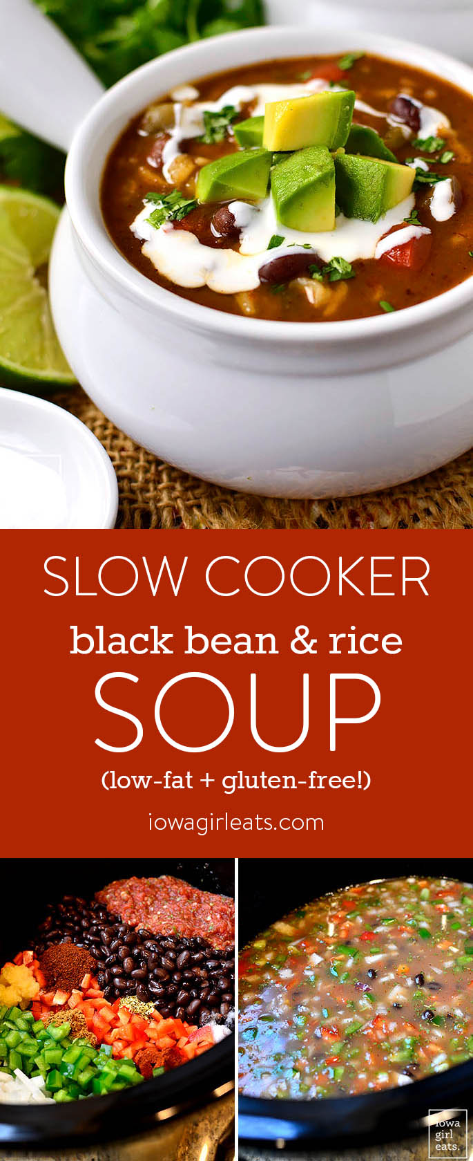 Slow Cooker Black Bean and Rice Soup is a filling, healthy, and heartygluten-free slow cooker recipe that's easy on the wallet, and waistline!   iowagirleats.com