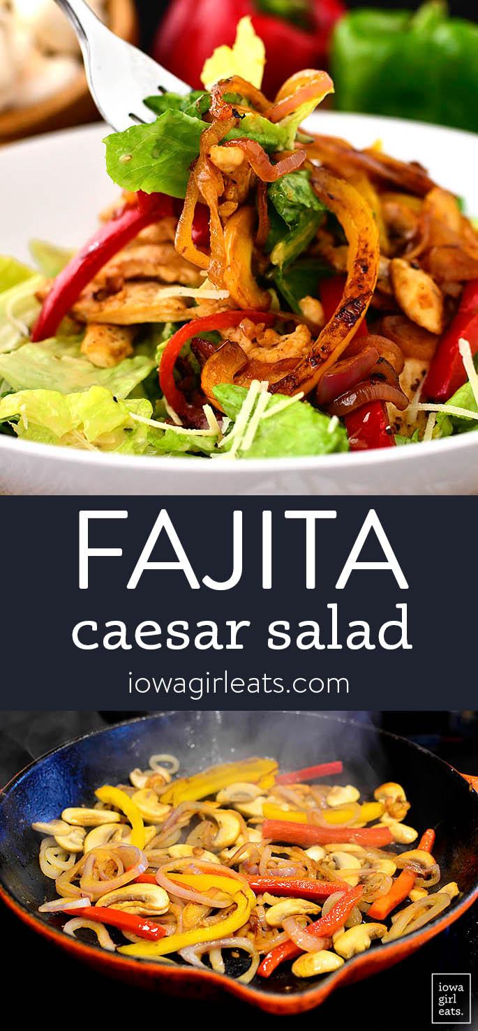 photo collage of chicken fajita sizzling salad