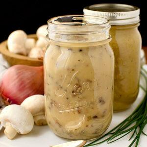 gluten free cream of chicken and cream of mushroom soups in mason jars