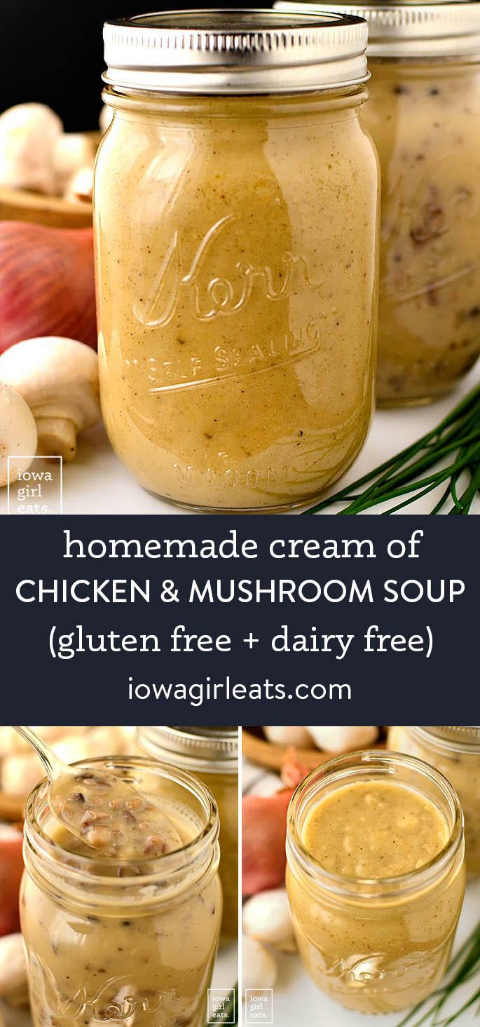 photo collage of gluten free cream of chicken and cream of mushroom soups