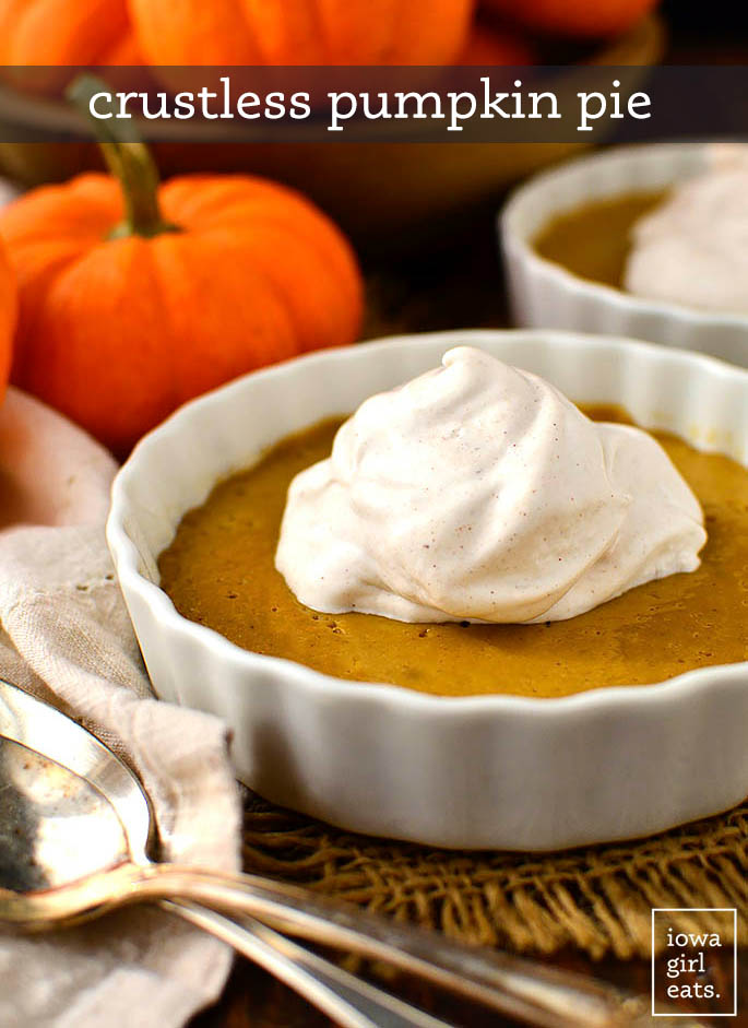 crustless pumpkin pie topped with a dollop of whipped cream