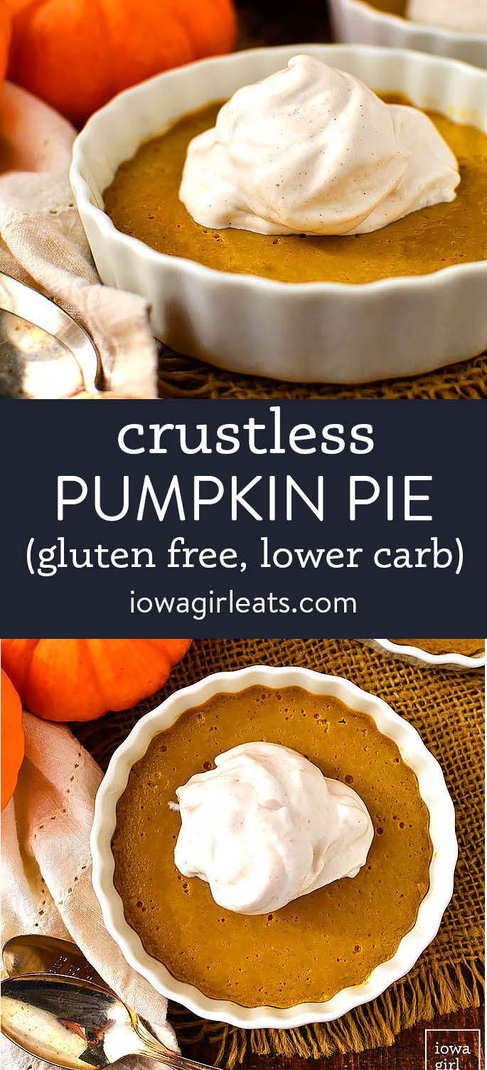 photo collage of crustless pumpkin pie