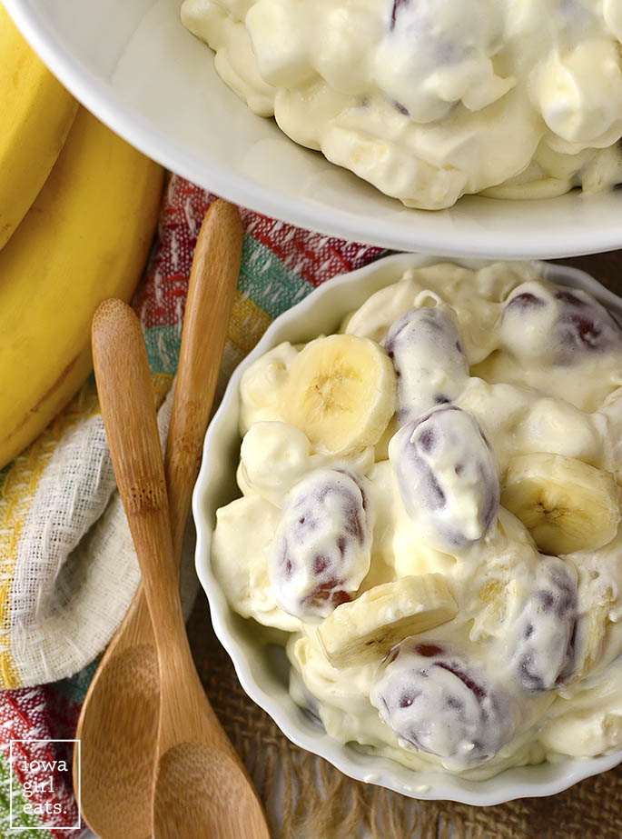 Fruit and Marshmallow Holiday Salad is a staple on my family's holiday dinner table. Easy to assemble and loved by all. Enjoy for dessert or as special holiday side dish! | iowagirleats.com