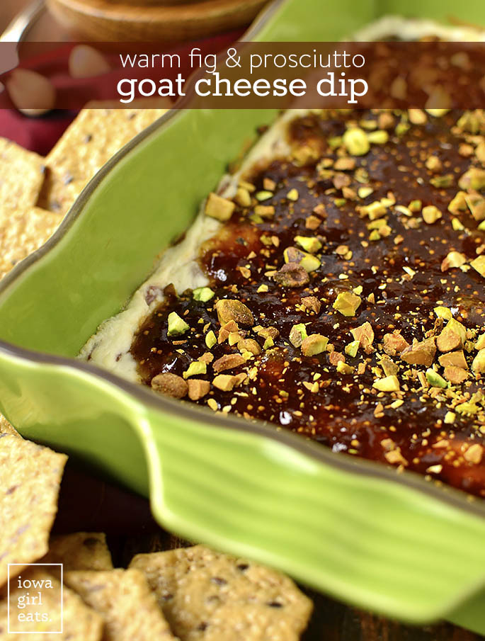 Warm Fig and Prosciutto Goat Cheese Dip is an irresistible gluten-free dip recipe! Layers of goat cheese and prosciutto, fig jam, and pistachios is a hit at parties. | iowagirleats.com