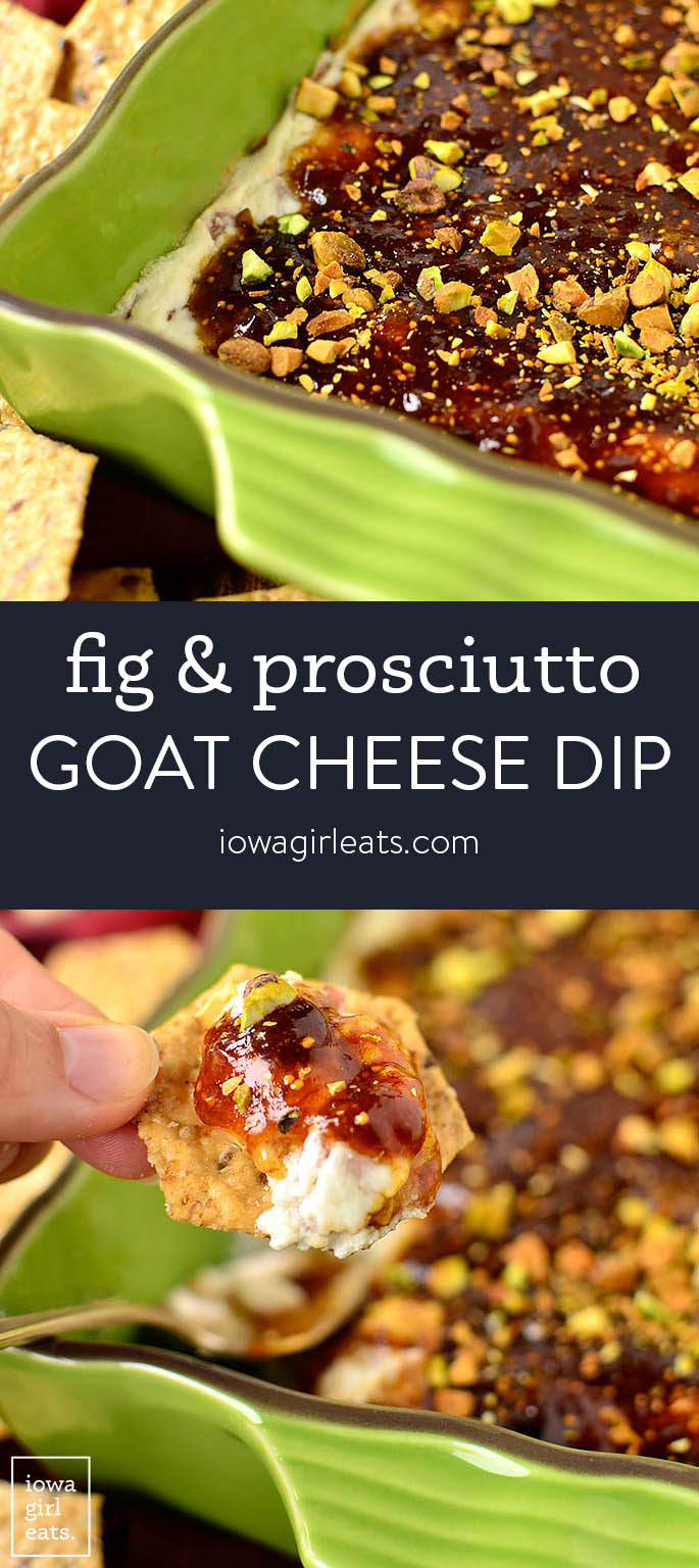 Photo collage of warm fig and prosciutto goat cheese dip