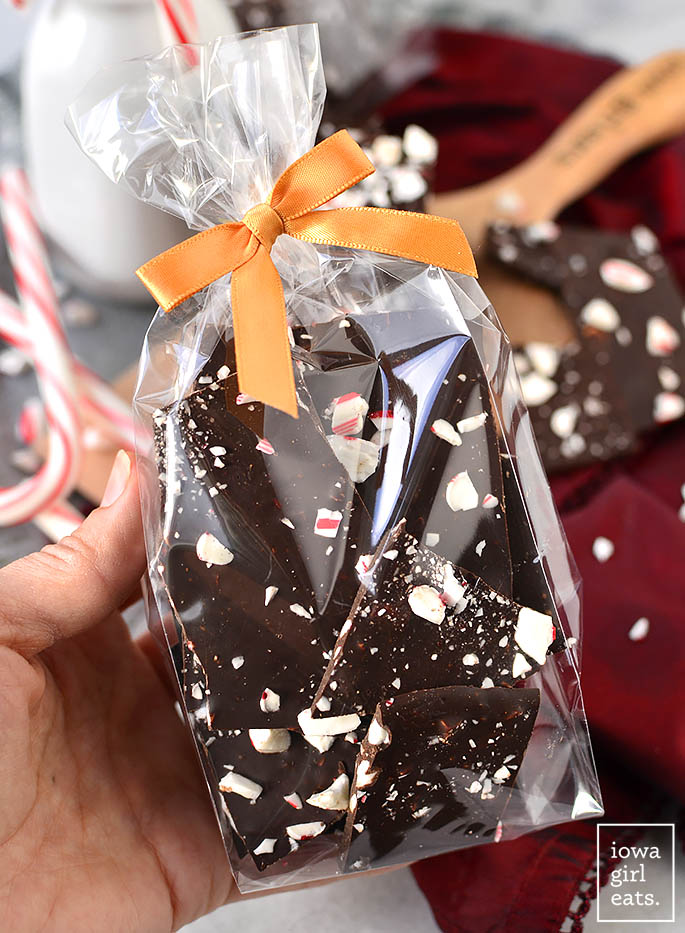 2-Ingredient Dark Chocolate Peppermint Bark couldn't be simpler and is perfect for holiday snacking. Package up and tie with a bow for a sweet homemade gift! | iowagirleats.com