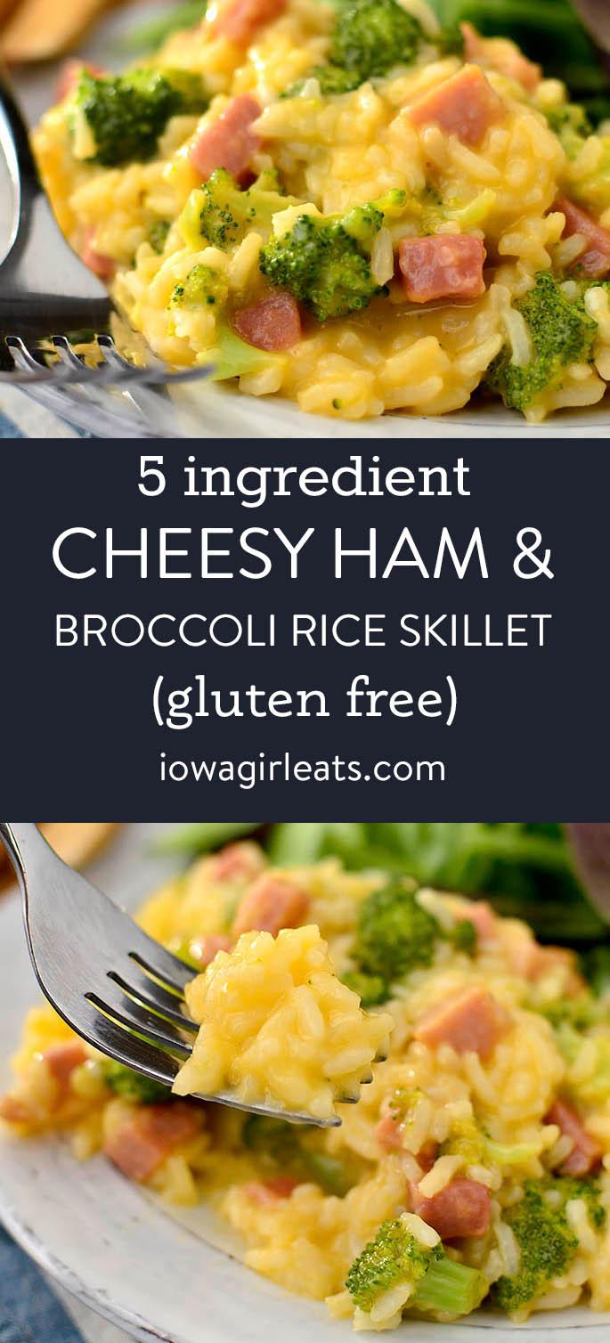 photo collage of cheesy ham and broccoli rice