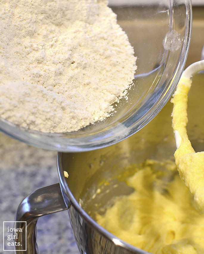 You'd never know soft and chewy gluten-free sugar cookies are made with gluten-free flour! Make into drop cookies or roll and cut into any shape you like. | iowagirleats.com