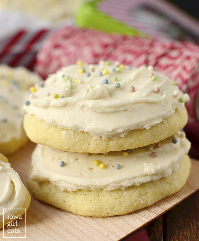 Gluten Free Sugar Cookies stacked on top of each other.