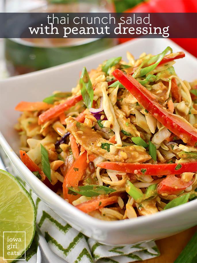 thai crunch salad with peanut dressing in a bowl