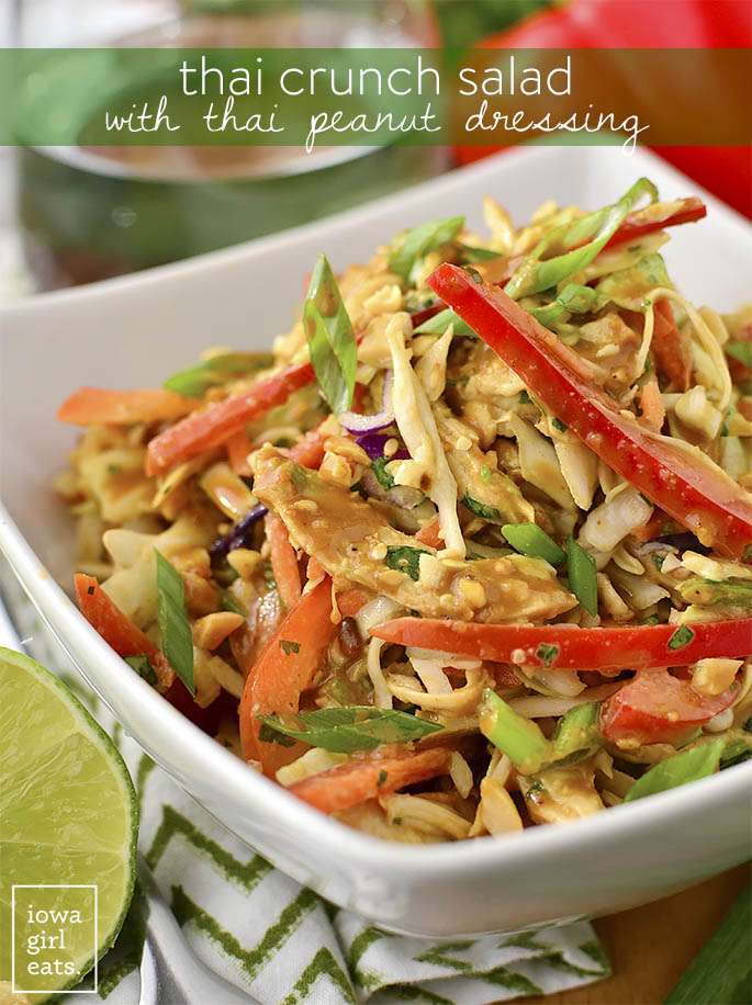 Thai Crunch Salad with Thai Peanut Dressing is a light and healthygluten-free salad recipe that's packed with savory flavor. This is one salad you will not mind eating! | iowagirleats.com