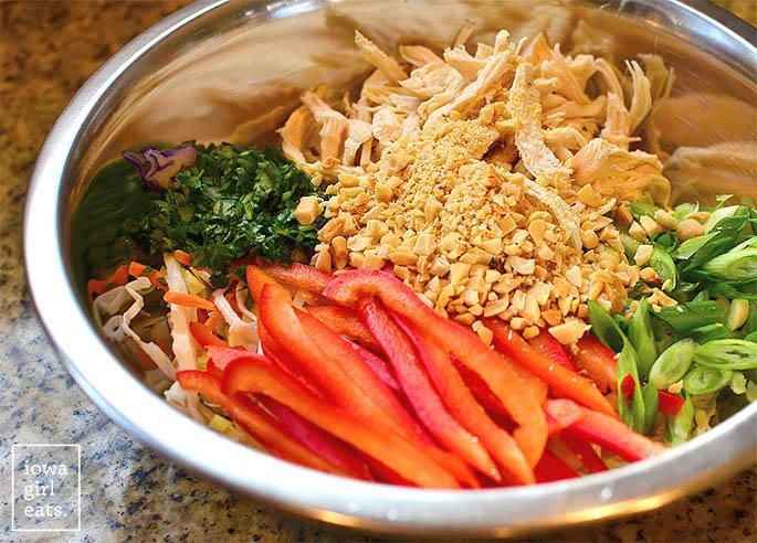 thai crunch salad ingredients in a bowl