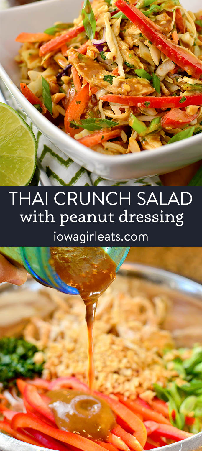 photo collage of thai crunch salad with peanut dressing