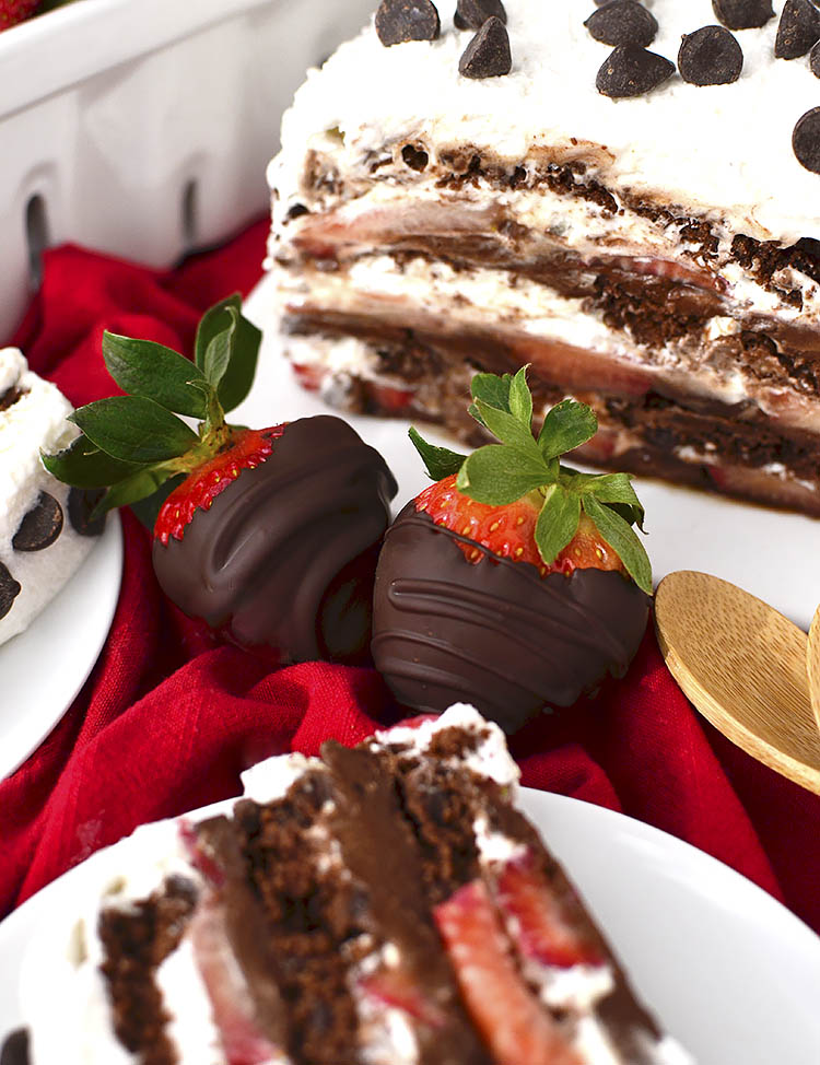 Chocolate-Covered Strawberry Icebox Cake is for serious chocolate lovers only! Thisgluten-free, dairy-free dessert recipe is decadent, sweet, and packed with chocolate.   iowagirleats.com