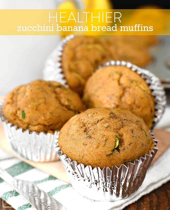 zucchini banana bread muffins on a plate