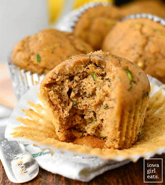 zucchini banana bread muffin with a bite taken out