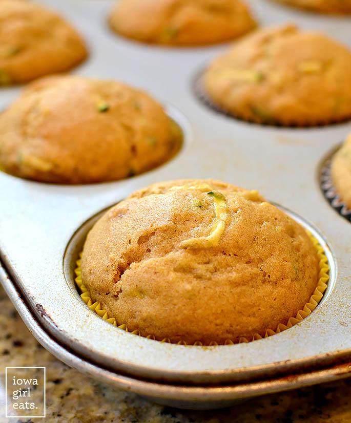 gluten free zucchini banana bread muffin in a muffin tin