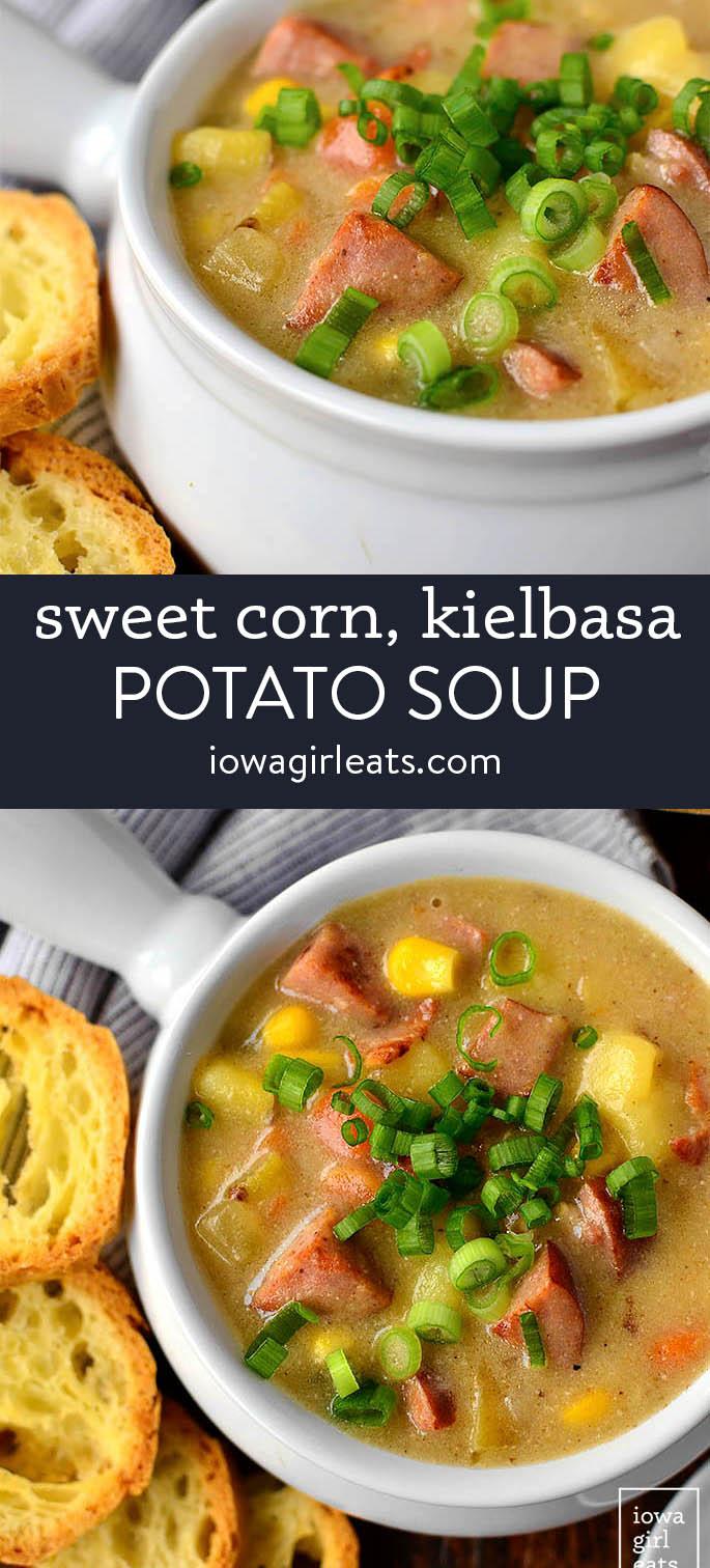 photo collage of sweet corn kielbasa and potato soup