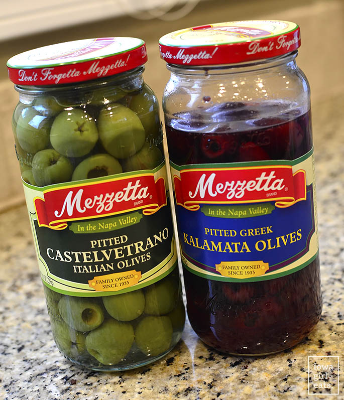 Two jars of olives.