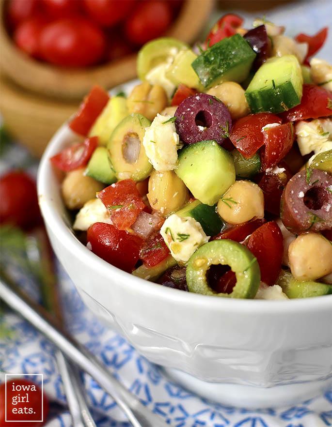 close up shot of chickpea salad