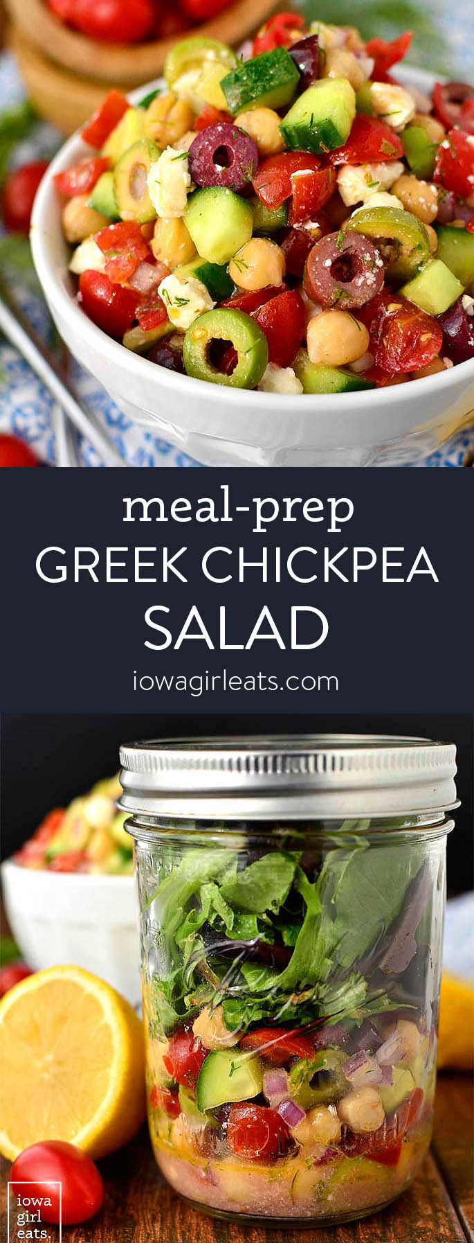 Photo collage of meal prep greek chickpea salad