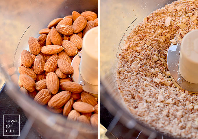 Pulverized almonds in the food processor.