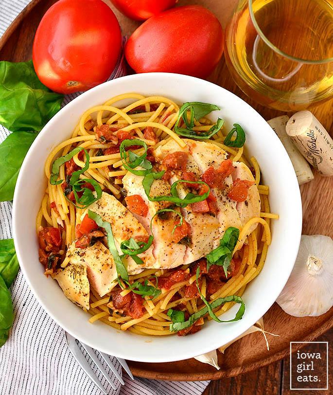 Overhead picture of bowl of Bruschetta Chicken Pasta