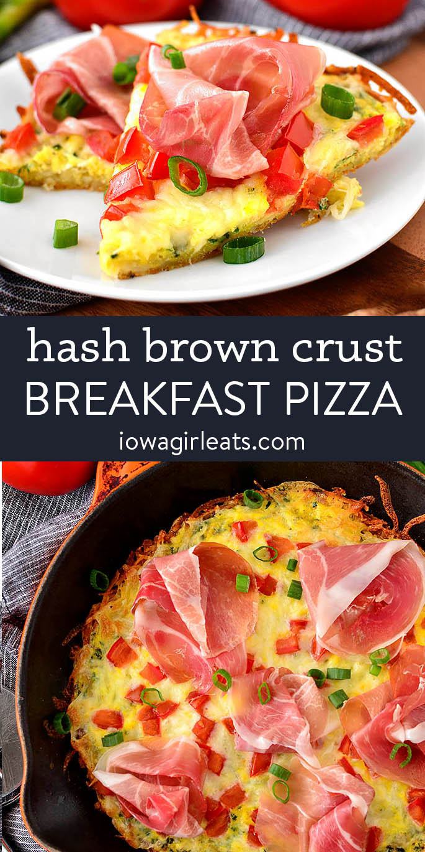 photo collage of gluten free hash brown crust breakfast pizza