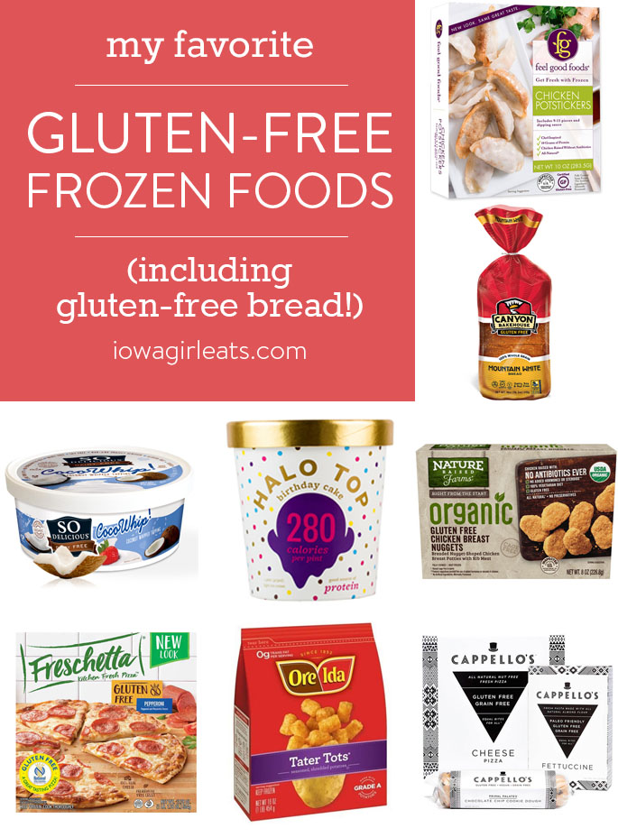 Picture collage of my favorite frozen gluten-free foods.