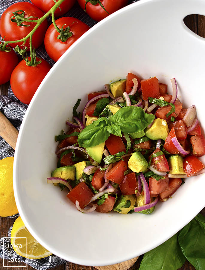 Overhead photo of Italian Guacamole Salad