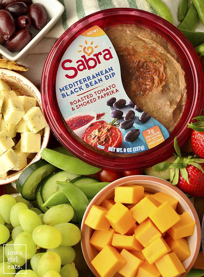 Container of Sabra Mediterranean Black Bean Dip.