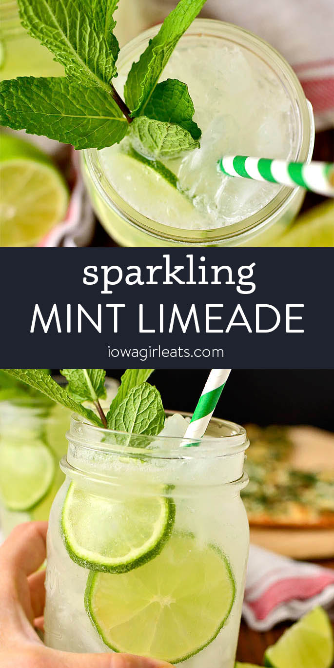 photo collage of sparkling mint limeade