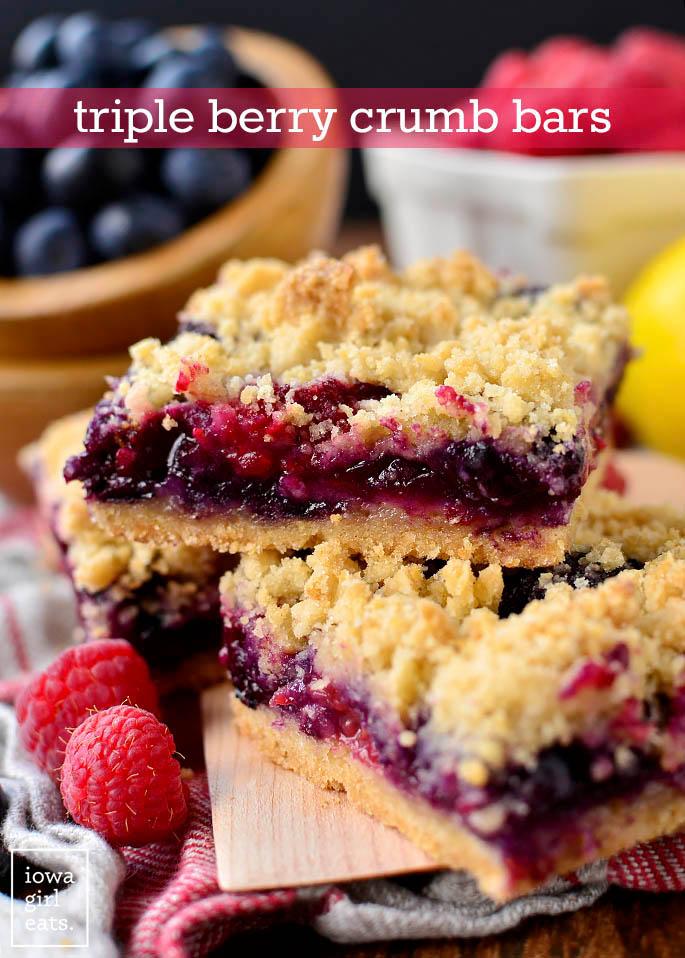 Stack of Triple Berry Crumb Bars, a gluten-free dessert recipe.