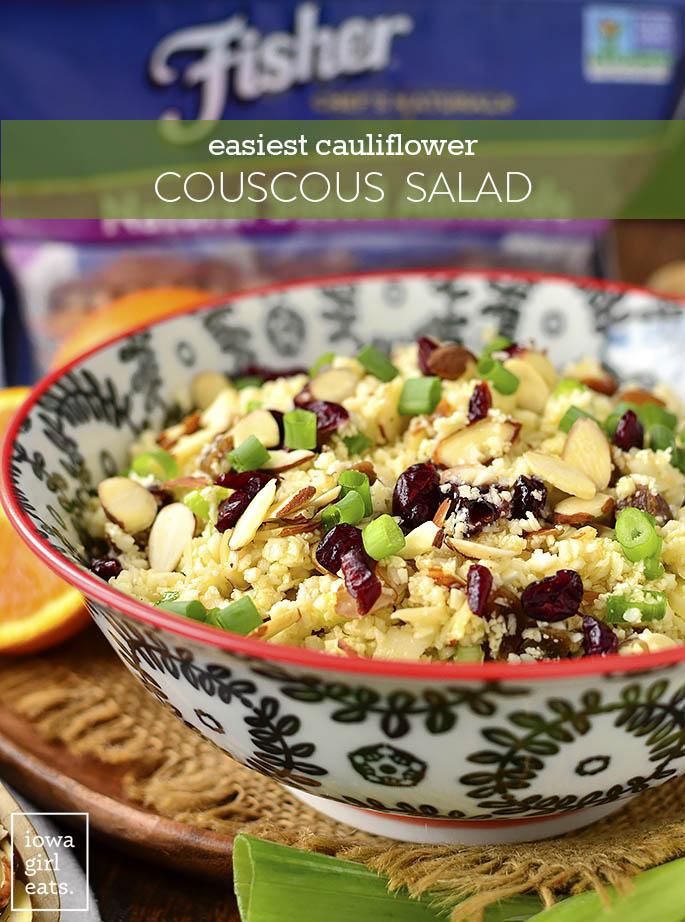 Bowl of Easiest Cauliflower Couscous Salad.