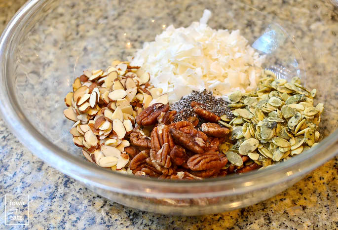 ingredients for the best grain free granola in a bowl